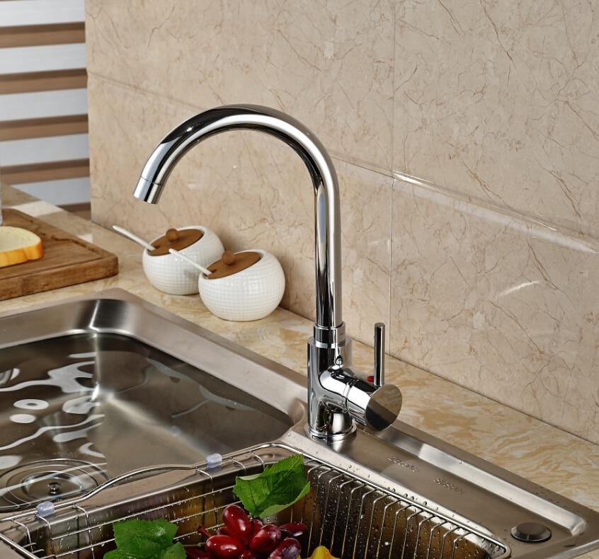 Swivel Spout Chrome Brass Kitchen Faucet Vessel Sink Mixer Tap Single Handle Hole Mixer Tap new pull out sprayer kitchen faucet swivel spout vessel sink mixer tap single handle hole hot and cold
