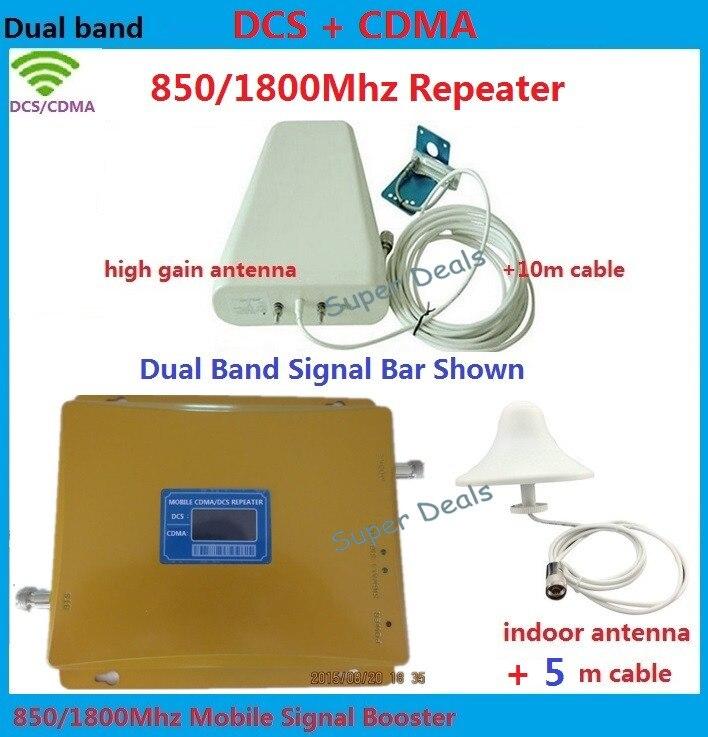 Amplificateurs à gain élevé CDMA, amplificateur de signal DCS 850 MHZ 1800 MHZ répéteur de signal mobile 4g lte amplificateur de signal cellulaire + antenne omni