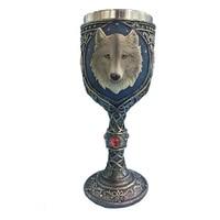 3D Wolf Head Mugs Coffee& Milk &Beer Goblet Cups Wolf King Drinkware Stainless Steel Cup Novelty Handgrip Drinking Bottle