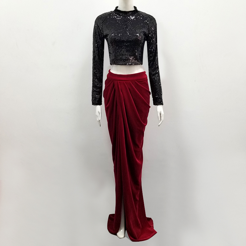 894bb7262d6 Manches Plancher Robe 2 D été De Deux Robes Pièce Soirée Bandage Rouge Club  Paillettes Femmes Maxi Noir Longues Moulante 2018 longueur AwZqv