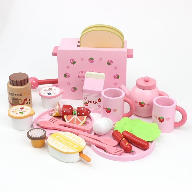 New Arrival Strawberry Toaster Infants Young Children Wooden Play House Wooden Kitchen Honestly See Toys Kitchen Utensils Toys цена