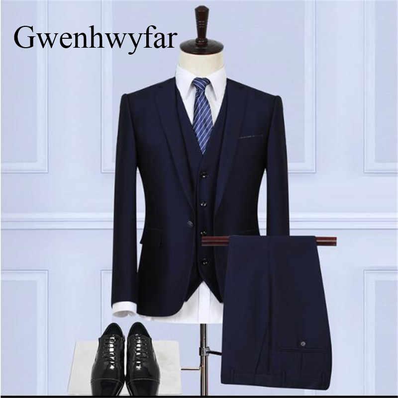 Gwenhwyfar 2018有名なメンズスーツ黒結婚式新郎男性3ピースタキシード(ジャケット+ベスト+パンツ)スリムフィットパーティータキシード用男性