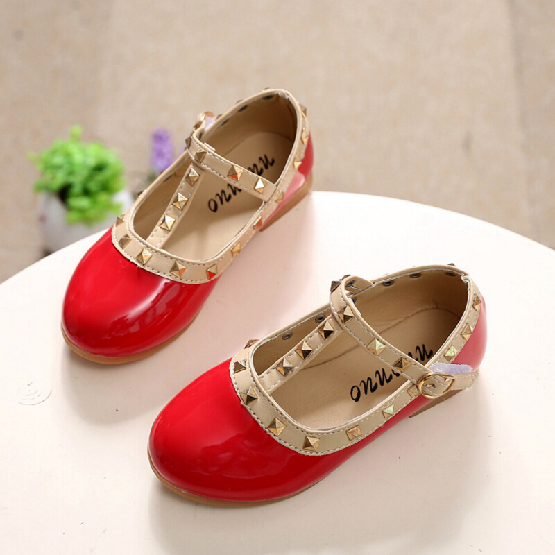 Spring baby children leather shoes fashion girl shoes princess dance shoes kids rivets slip wear resisting