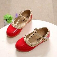 Printemps bébé enfants chaussures mode fille chaussures en cuir princesse chaussures de danse enfants rivets glissent résistant à l'usure enfant mocassins