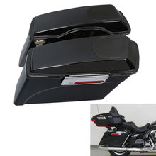 цена на Black Saddlebag 5x7 Speaker Lids For Harley 93-13 Touring Ultra-Classic Road King Electra Street Glide FLT FLHT FLHTCU FLHRC