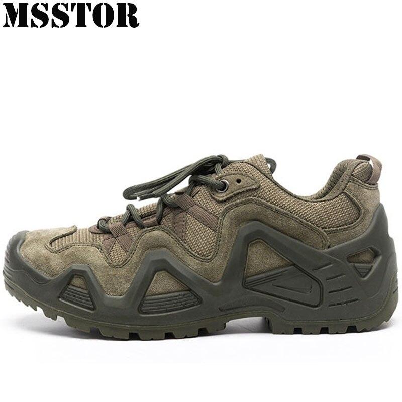 MSSTOR Men Hiking Shoes Outdoor Athletic Tactical Camping Shoes Man Brand Hunting Trekking Climbing Sport Men Anti-Slip Sneakers