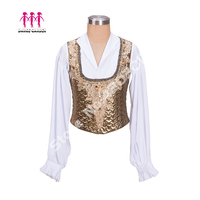 White Gold Professional Ballet Stage Tops Costume Men's Performance Outwear Boy's Ballet Jacket Competition Male Tunic B004
