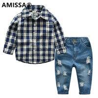 AMISSA2018春子供の格子長袖シャツジーンズセットスーツ男性貴重なズボン赤ちゃん子供男の子の服