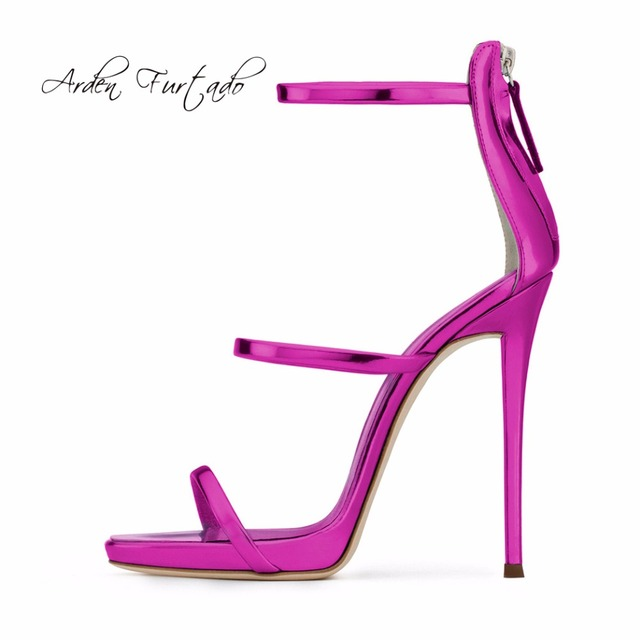 7f33f90eac9c Arden Furtado 2018 summer new style brand shoes woman buckle strap platform  open toe fashion blue purple zipper velvet sandals