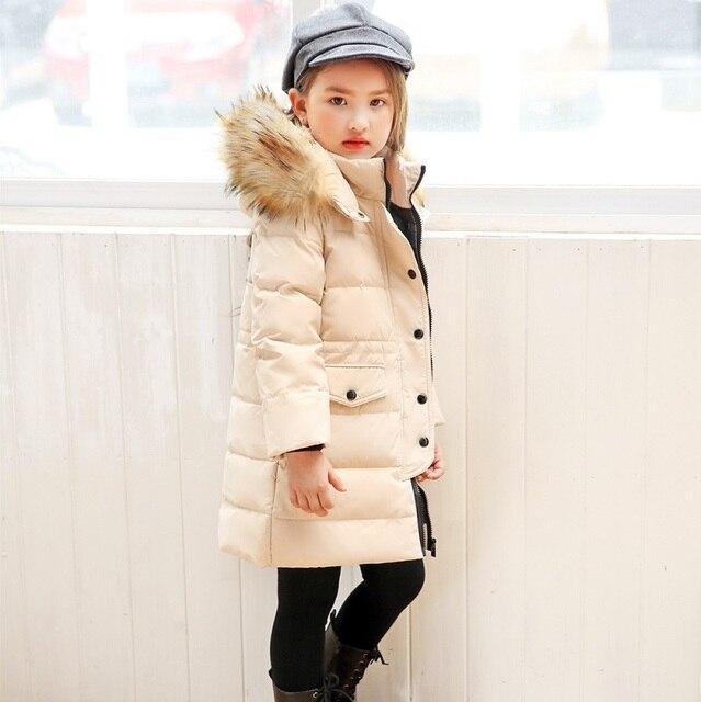 Best Price ZOETOPKID 2018 Winter Jacket For Girls Brand Fur Collar Hooded Long Children Down Jacket 2-12 Years Kids Teenage Outerwear Coat