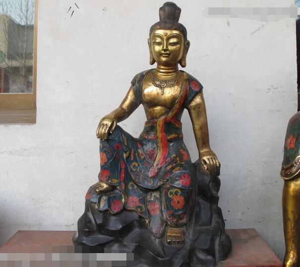24Tibet Fane Bronze Gilt Cloisonne freedom Guan yin Bodhisattva Buddha statue24Tibet Fane Bronze Gilt Cloisonne freedom Guan yin Bodhisattva Buddha statue