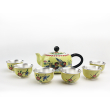 High grade 999Silver Products Cloisonne  Hand made Tasting cup Kung Fu Teacup gift for family and friends kitchen office tea set