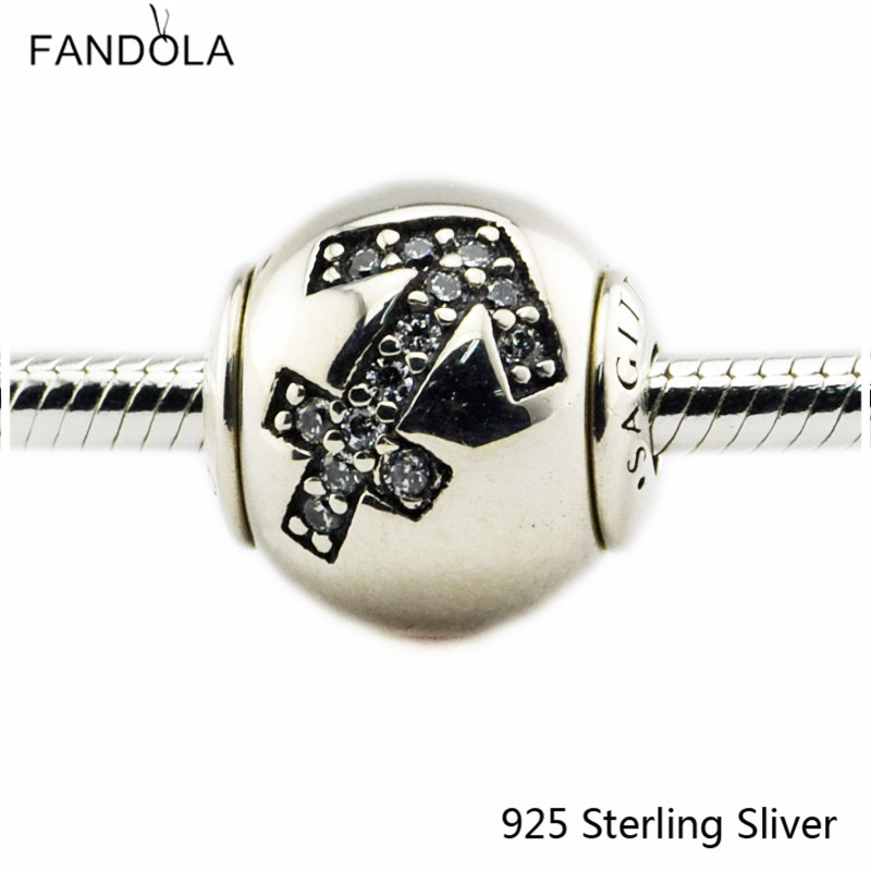 2.5MM Sagittarius Star Sign Silver Charms 925 Sterling Silver Fit Bracelet Jewelry DIY Bead for Women Jewelry Making Gift