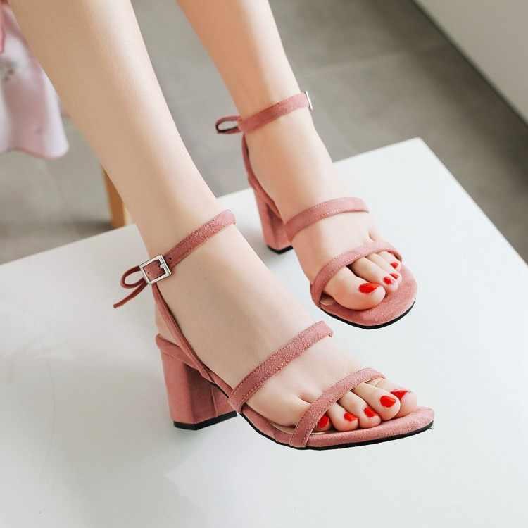Big Size9 10 11 12 13 14 15 รองเท้าส้นสูงรองเท้าแตะผู้หญิงรองเท้าผู้หญิงฤดูร้อนสุภาพสตรีเรียวและหนา- รองเท้าส้นสูงเดี่ยว