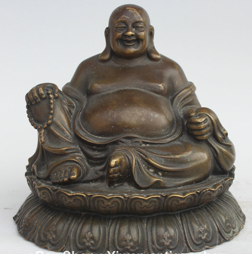 $old craft$ 6 Chinese Folk Bronze Seat Happy Laugh Maitreya Buddha Wealth Money Bag Statue (A0314)$old craft$ 6 Chinese Folk Bronze Seat Happy Laugh Maitreya Buddha Wealth Money Bag Statue (A0314)
