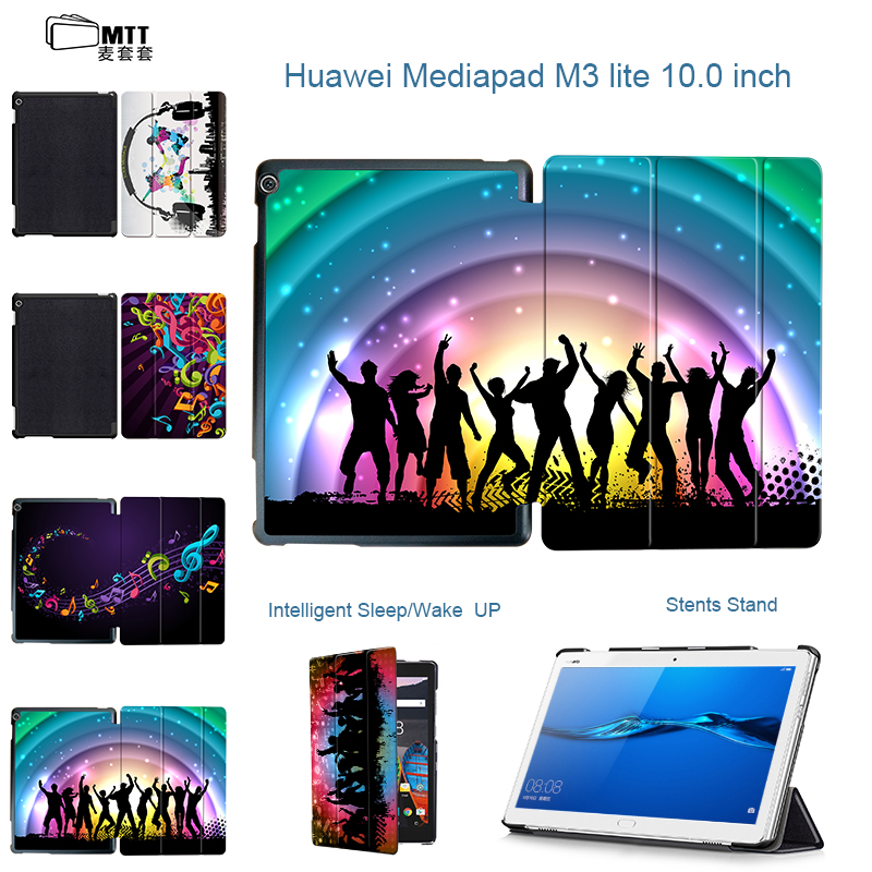 MTT Fashion Tri-Fold Stand PU Leather Youth Music Skin Cover Case For Huawei MediaPad M3 Lite 10 BAH-W09 BAH-AL00 10.1 tablet smart ultra stand cover case for 2017 huawei mediapad m3 lite 10 tablet for bah w09 bah al00 10 tablet free gift