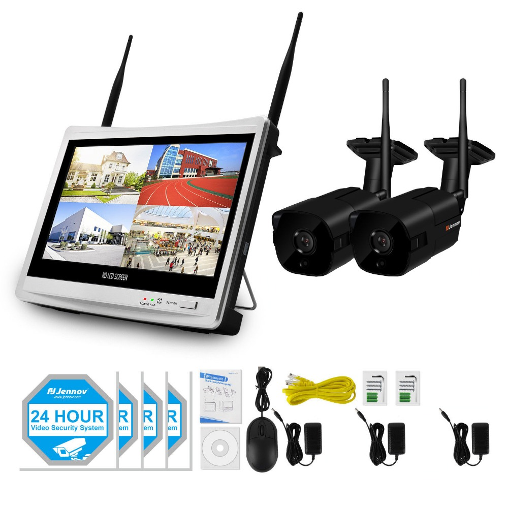 2CH 1080P 2MP Ip Security Camera System Wifi CCTV Set Wireless NVR LCD Monitor Home Outd ...