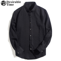 Chinese Style Black Shirt Men Fashion 2018 New Arrival Mandarin Collar Casual Shirt Big Size Mens