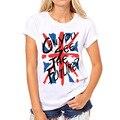 Nueva Union Jack Bandera Carta de Las Mujeres Impreso camiseta Del O-cuello Delgado de Manga Corta Camiseta de Las Mujeres Ropa Casual camisetas mujer