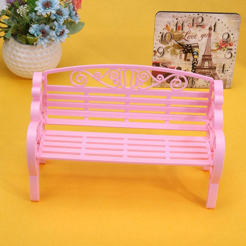 Miniatures Fairy Garden Park Bench Chair Mini Park Plastic Dollhouse Decor Furniture Accessories Kid Toy Pretend Play Tools Gift