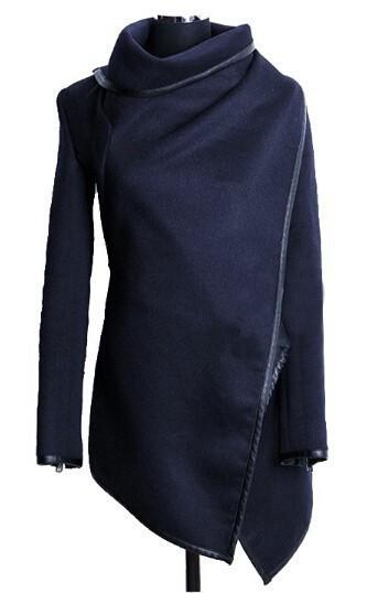 Abrigo asimétrico de lana diseño para Mujeres.
