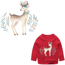 christmas deer iron on patches for clothing stickers heat transfert thermocollants t-shirt hoodies diy children vetement