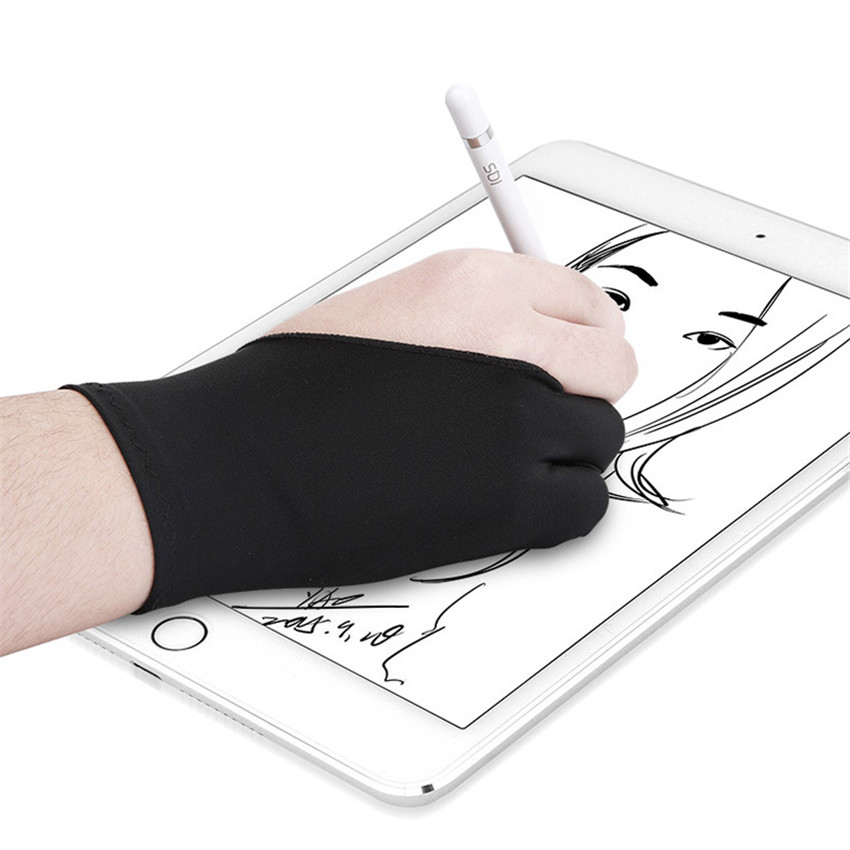 1 Single Professional Two-Finger Apple Pencil Painting Gloves Fingerless Black Anti-Touching Drawing Gloves Flat Anti-Sweat