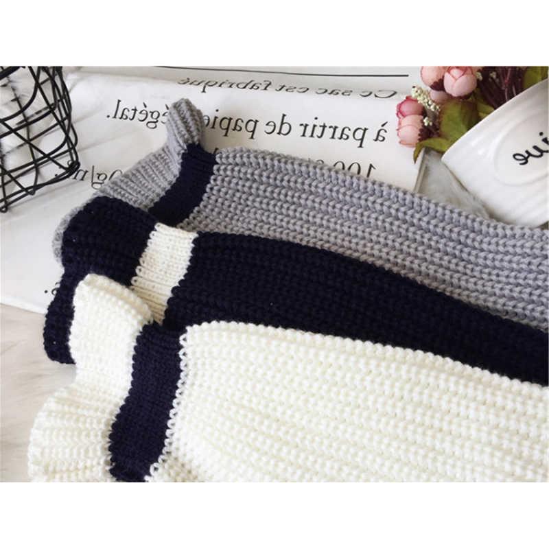 Осень-зима Для женщин со свитером в полоску, 2018 Модные свободные с оборками на рукавах, мягкий вязанный пуловер свитер джемпер женский пуловер