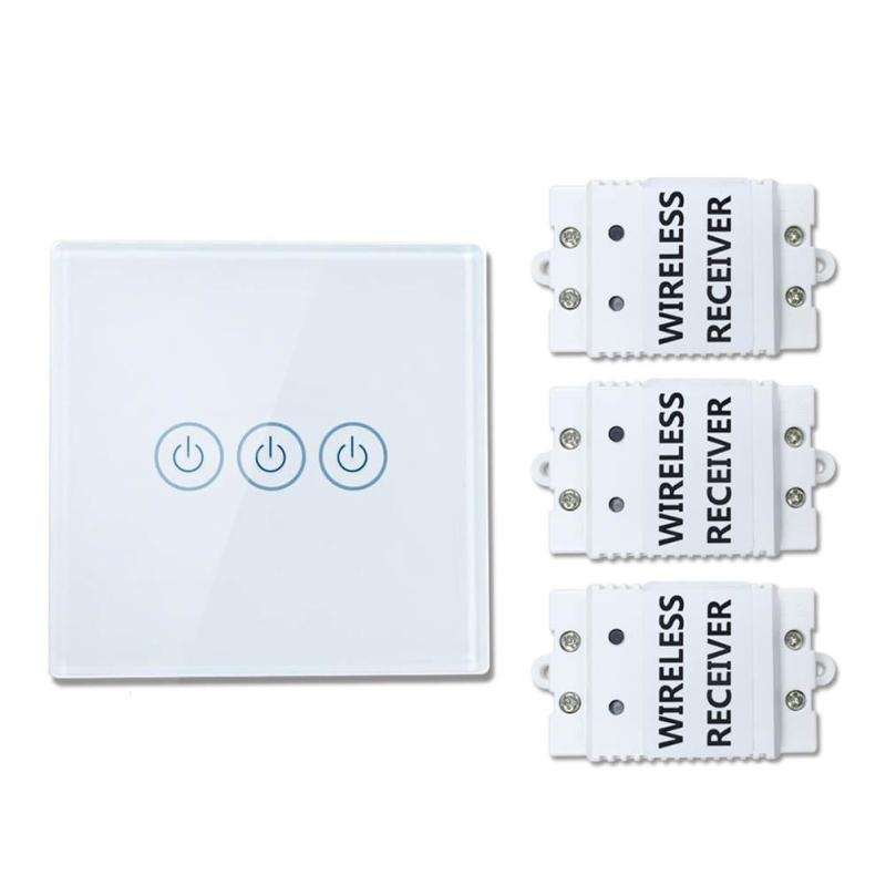 433Mhz 220V Smart Home 3 Gang 3 Way Wireless Remote Control Light Lamp Switch Crystal Glass Panel Wall Touch Switch vhome eu uk rf 433mhz wireless wall sticker panel touch remote control & 3 gang crystal glass wall lighting touch switch 220v 5a