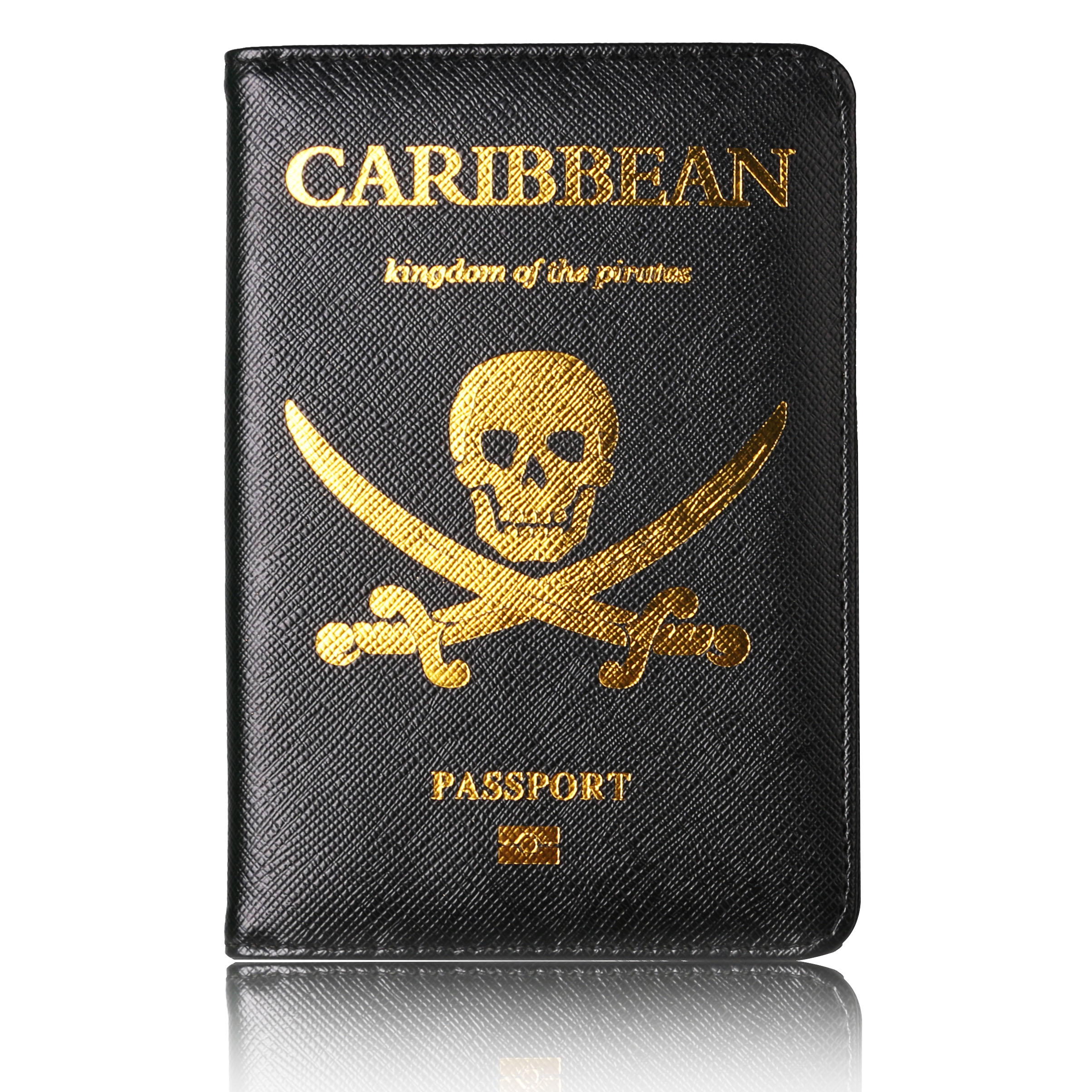 TRASSORY Kingdom Pirates of the Caribbean Leather RFID Blocking <font><b>Passport</b></font> Cover with Card Case and Ticket Holder image