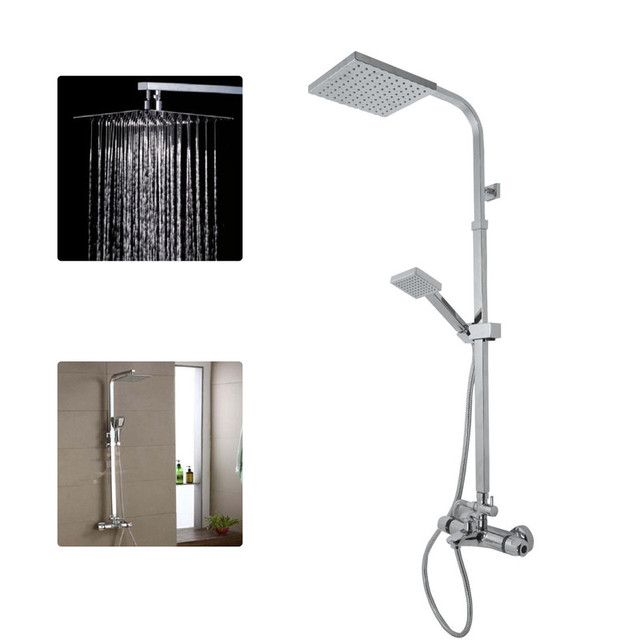 Bowarepro BATH SHOWER MIXER THERMOSTATIC VALVE TAP 3 WAY USE DUAL SQUARE HEAD RAIL HOSE N