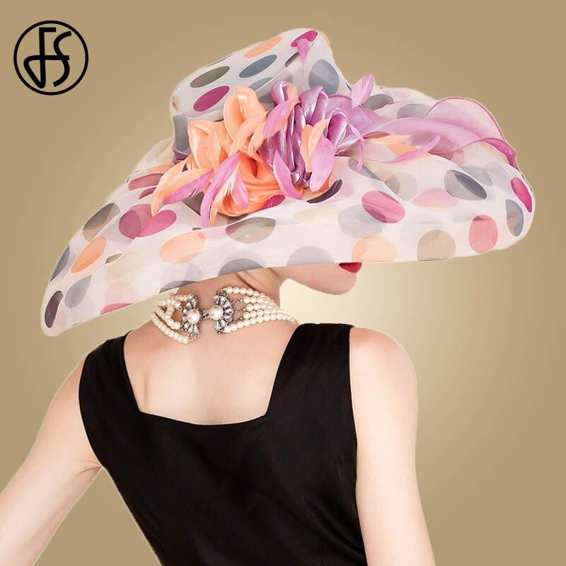 FS British Style 100 Organza Hats For Women Summer England Lady Large Wide Brim Pink Flower