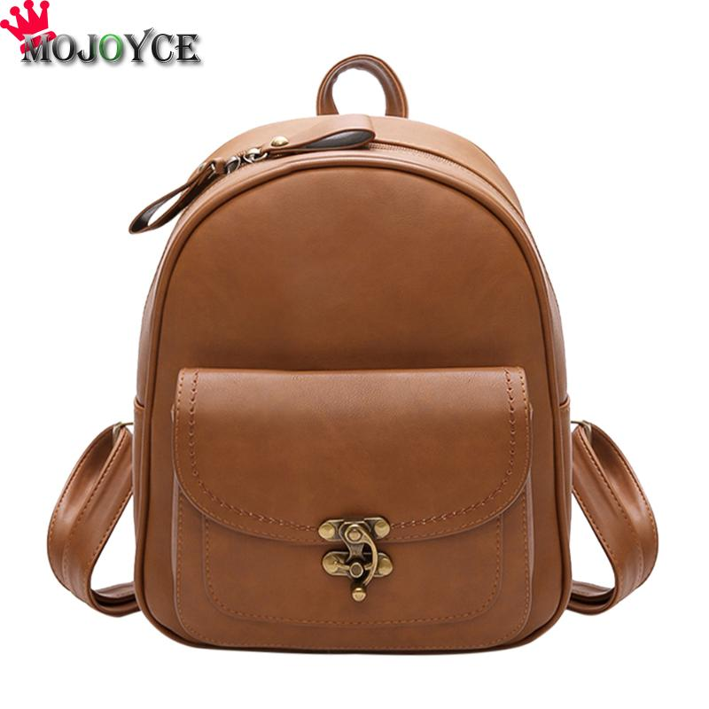 Vintage Women Backpacks Pu Leather Shoulder Bag Simple Casual School Bookbag Female Solid Mochila Girls Retro Simple Backpack