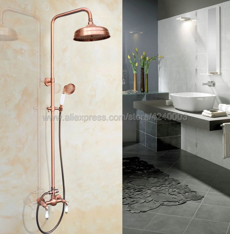 Antique Red Copper Wall Mount Rain Shower Faucet Set Handheld Shower Mixer Tap Dual Handles Faucets