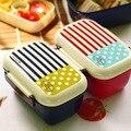 Duplo de Plástico Recipientes de Comida de Microondas Caixa de Almoço Japonês Aparelho De Jantar Fiambrera Lancheira Estudante Marmita Parágrafo Comida