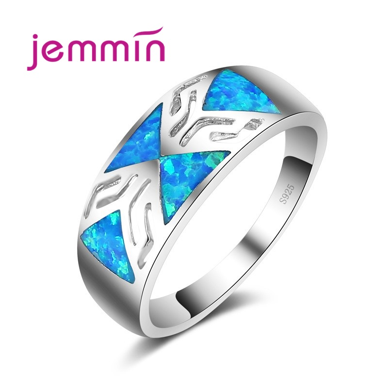 Classic Style Lake Blue Opal Ring 925 Sterling Silver Color Jewelry Rings For Women & Men Lovers Gift.