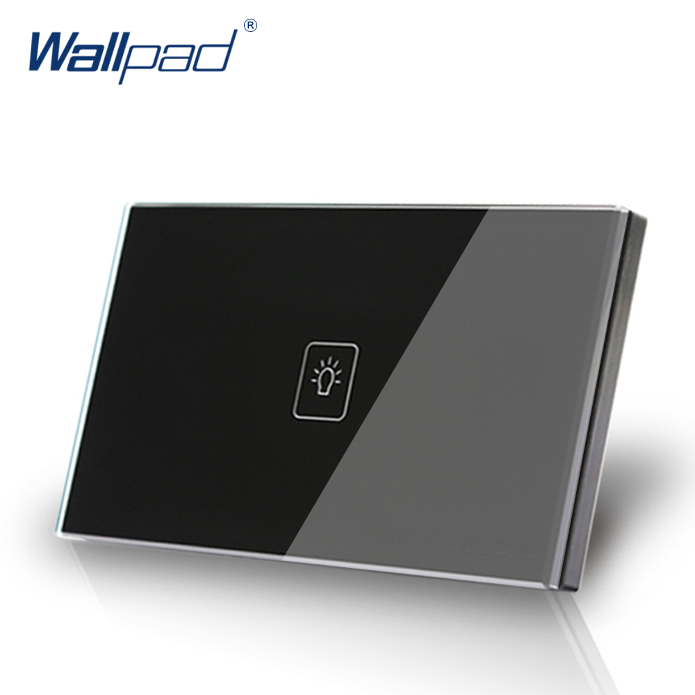 US/AU standard Wallpad Touch switch 1 gang 1 way Touch Screen Light Switch Black Crystal Glass Panel Free Shipping 3 gang 1 way 118 72mm wallpad white glass touch wall switch panel led 110v 250v au us switching power supply free shipping