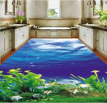 3D Wallpaper Mural Decor Photo Backdrop Exquisite 3D Sea World Flooring PVC Wall Paper Self-adhesive Floor Mural(China)