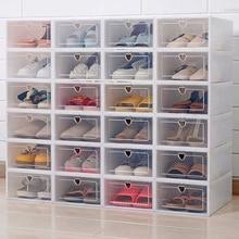 6 шт флип коробка для обуви утолщенный прозрачный ящик чехол Пластиковые обувные коробки Стекируемый ящик органайзер для обуви стеллаж хранение обуви