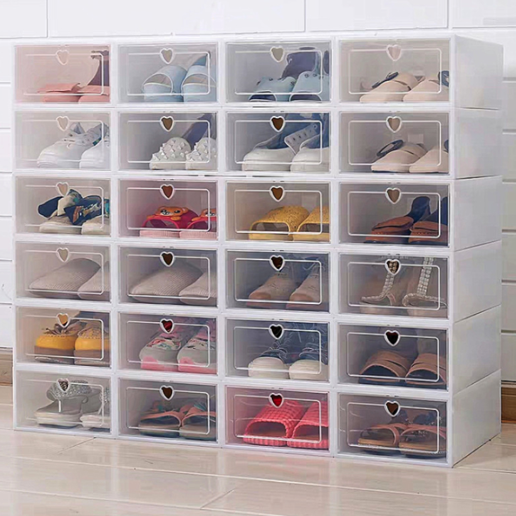 6PCS Flip Shoes Box Thickened Transparent Drawer Case Plastic Shoe Boxes Stackable Box Shoe Organizer Shoebox Storage Shoe Rack