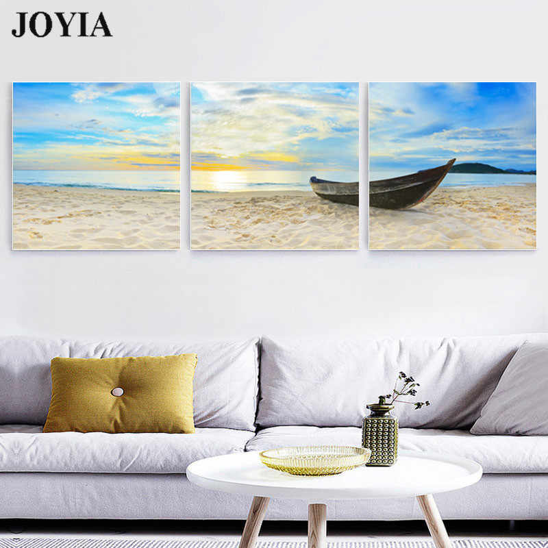 Beach Sands Canvas Pictures Boat Painting Sunrise On Sea Morning Seascape Wall Art For Living Room Decor 3 Piece/Set No Frame