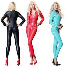 3f7feb4c68 Black Exotic PU Lingerie Plus Size Faux Leather Sexy Bandage Bodysuit  Catsuit PVC Wetlook Open Crotch