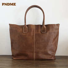 PNDME genuine leather womens tote bags hand-stitched retro ladies handbags large capacity soft cowhide shopping bag