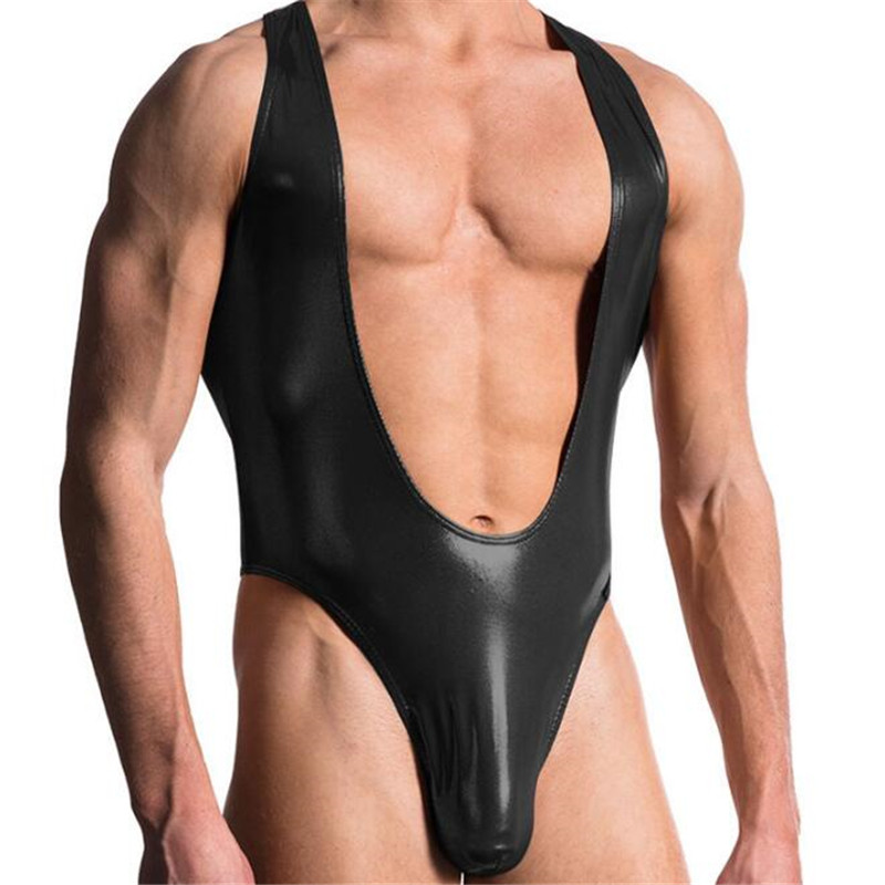 06442b0db906 Detail Feedback Questions about Men Faux Leather thong comfortable Man Sexy  Fitness Bodybuilding Sheer Bodysuit Gay Slim Shaper Underwear Shapewear  Fashion ...