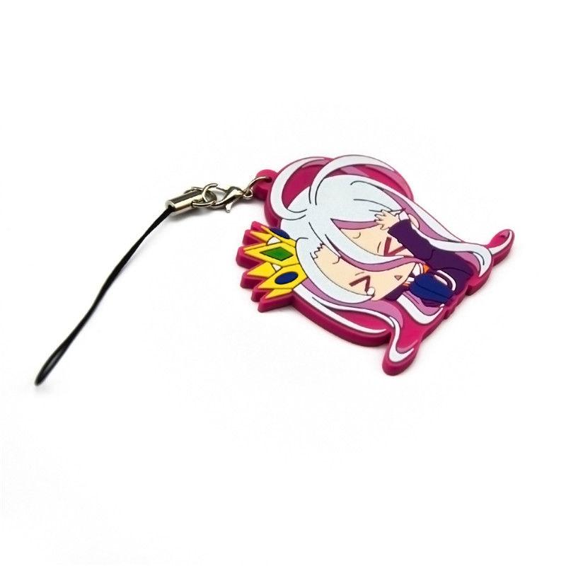 Hot Japan Anime No Game No Life Shiro Rubber Strap Keychain Pendant Gift