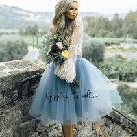 [Gizli Fermuar] moda 7 Katmanlar Tutu Tül Etekler Bayan Yüksek Bel Yaz Etek Yetişkin Pilili Etek Lolita faldas saias jupe