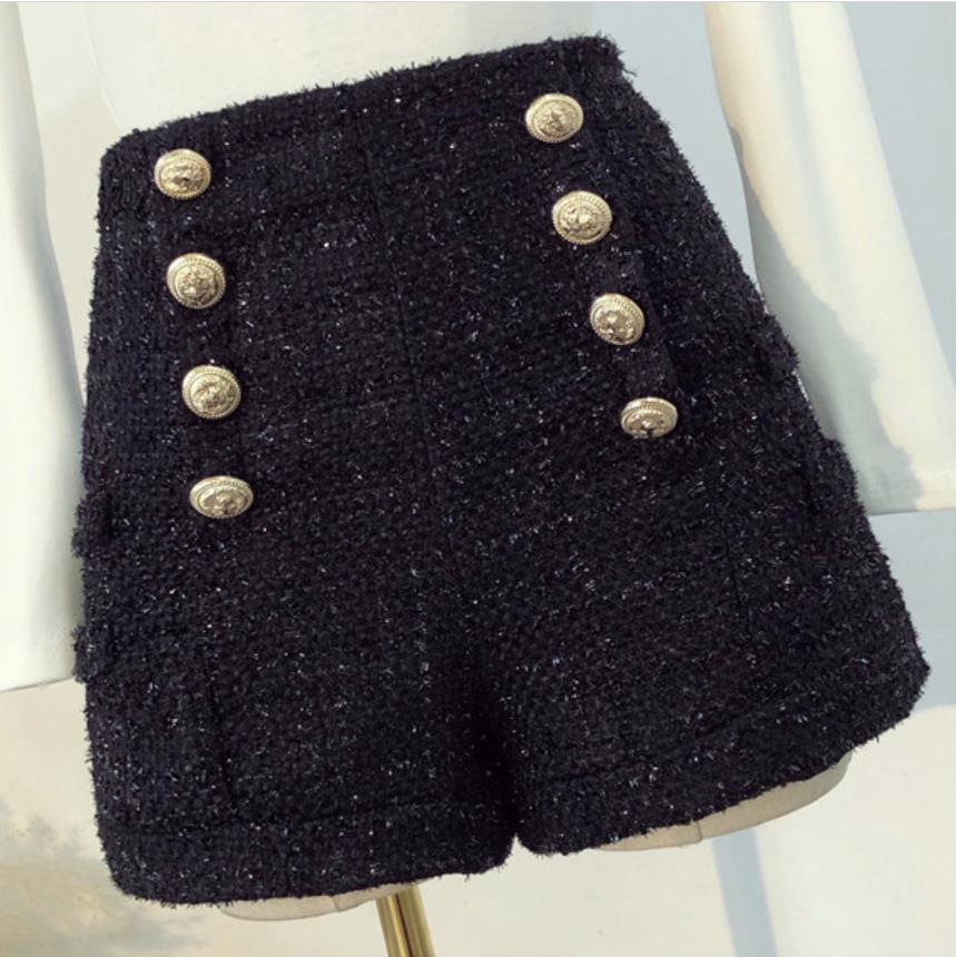Plus Size 4XL!Autumn Winter New Fashion Double-breasted Gold Button High Waist Tweed Woolen Shorts Women