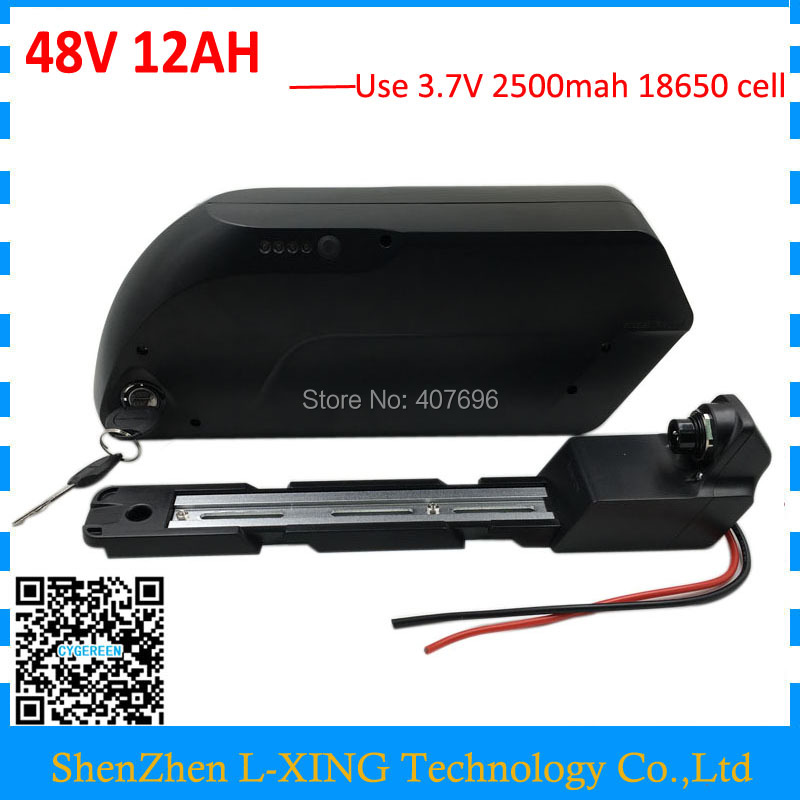 350W 500W 48v lithium battery 12ah Down tube battery 48V 12AH ebike batteries with USB connector 15A BMS and 2A Charger