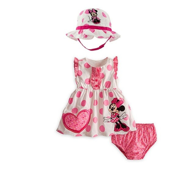 New Baby Girl Sets Pink Color Minnie Mouse + Bread Pants + Double Sun Hat 3PCS Sets  Infant Girls Clothing Set