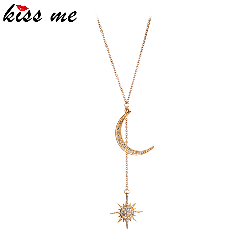 kissme Exquisite Crystal Moon Star Long Pendant Necklaces For Women Anniversary Gifts Gold Color New Fashion Jewelry Accessories